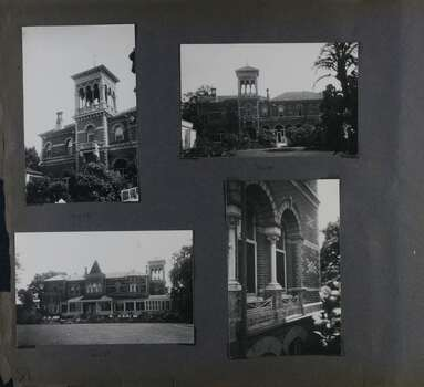 4 photos - a close view and a more distanced view of the side of the mansion with the 3 storey square tower, one distanced view of the front of the mansion and one close view of 2nd floor arched windows.