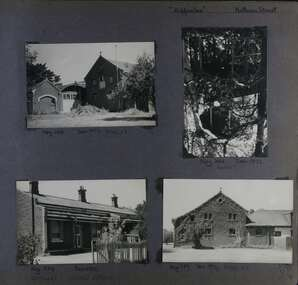 4 photos - 2 different views of large old brick stables, one view of a lookout open-walled building in the garden and one view of 3 small adjoining cottages.