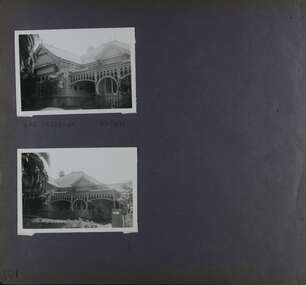 2 photos of an old timber home with very decorative verandah.