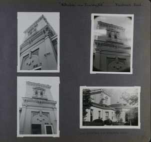 4 photos - 3 different close-up views of a rendered ornate two storey tower and one wider view of the house and its tower.