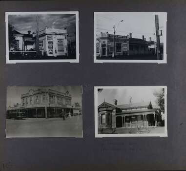 4 photos - 2 different views of an old corner shop and the houses on each side of it; one old photo of an intersection with a tram going by and a couple of people on the street in front of a large 2 storey corner building of shops; and one of an old brick home with a return verandah.