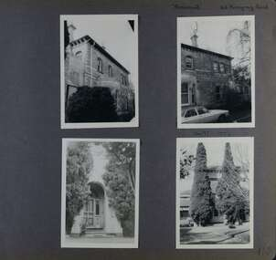 4 photos - old 2-storey brick building with different views of front entrance and exterior walls plus garden and driveway with car.