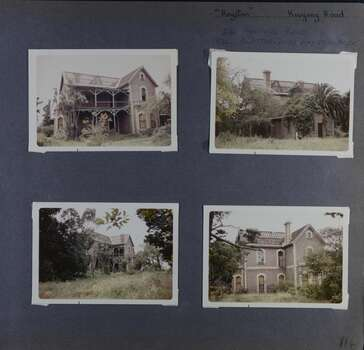 4 photos - different views of old 2storey brick mansion in its overgrown garden.  Roof tiles missing for much of the building.