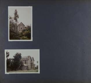 2 photos - different exterior views of this old brick two storey mansion in its overgrown garden.  Missing most of its roof tiles.