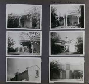 6 photos - 4 different views of an old home with verandahs in its garden and 2 views of a 2 storey building