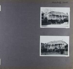 2 photos of the front of the same old house with verandah in its garden - from left and from right.