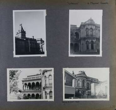 4 photos - different views of an old mansion showing its tower, verandahs and windows