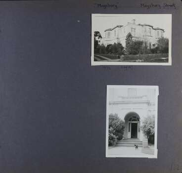 2 photos - one of a large 2 storey building in its garden and one of a formal entrance door with a cat in front of it.