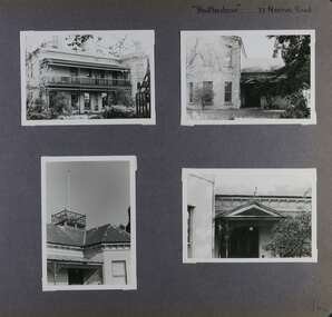 4 photos - 1 view of an old 2-storey mansion in its garden with 3 closer views of its features including a platform on the roof