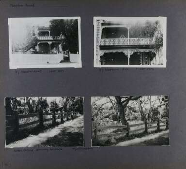 4 photos - 2 views of an old 2 storey brick mansion and its decorative brickwork and balcony;  and 2 views of a park with its old-style wooden farm fence