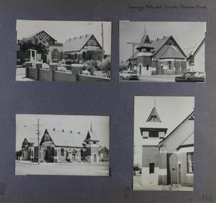 4 photos - different views of an old and large brick church with its bell tower with a hall next to it.
