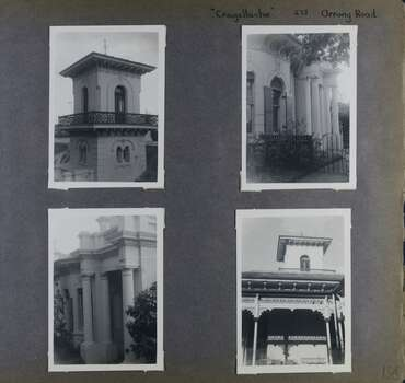 4 photos - 2 different views of a mansion's 2 storey tower and 2 different views of a grand porch entry