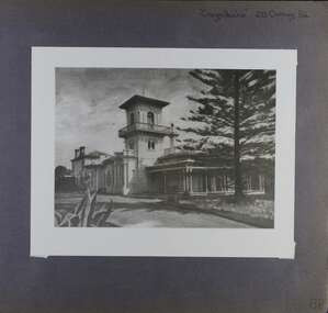 1 photo - large photo of an old mansion with 3 storey tower and driveway within its garden