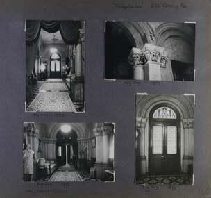 4 photos - 4 interior views of a grand hallway including closeup of a column detail