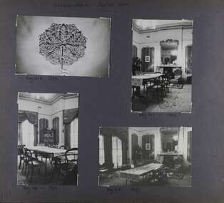 4 photos - 3 views of a dining room and one closeup of an ornamental ceiling rose