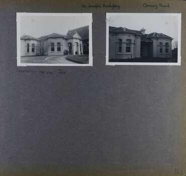 2 photos - 2 views of an old house next to a church