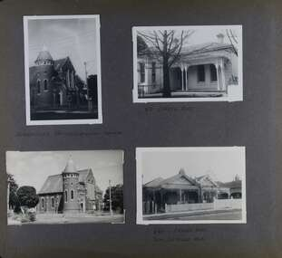 Two photos of an old brick church with a tower plus two photos of old houses