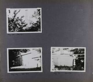 Three views of outbuildings including a large chimney