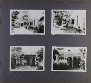 Four different views of this old one storey home in its garden