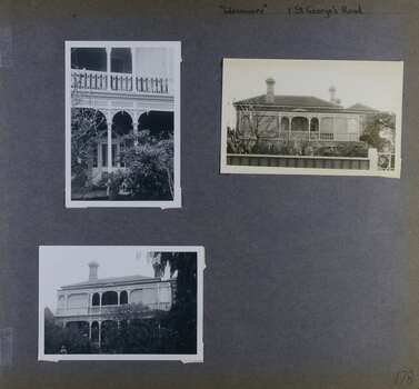 Two distance views and one close view of an old 2 storey mansion in its garden