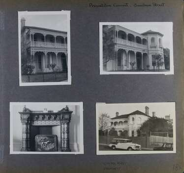 Street and garden views of the front of 2 storey old mansion plus one of a highly decorative fireplace and mantelpiece