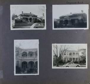 4 photos - 2 different front views of an old single storey brick home with decorative large verandah and 2 different views of an old 2 storey large home and its garden