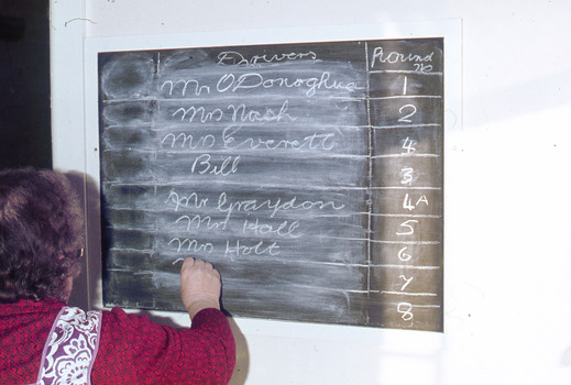 Women in a red top writing drivers names on a blackboard.