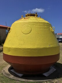 Two large yellow marker buoys, one welded and the other spherical and riveted with a light on top of a mast. These were used to indicate the gas pipeline which runs across Port Phillip Bay between Mordialloc to Altona.
