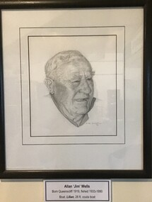 Framed pencil drawing of prominent Queenscliff fisherman Alan Wells.
