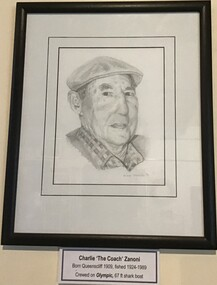 A framed pencil drawing of Charlie Zanoni signed by the artist, one of a series of 10 pencil drawings entitles 'The Old Salts' of prominent Queenscliffe fishermen