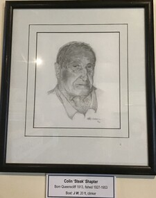 Framed pencil drawing of prominent Queenscliff fisherman Colin 'Steak' Shapter.