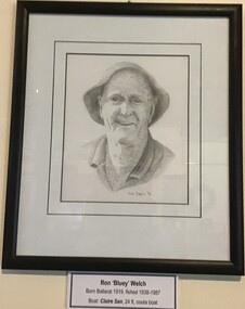 Framed pencil drawing of prominent Queenscliff fisherman Ron 'Bluey' Welch signed by artist Dr Mike Birrell 1996.