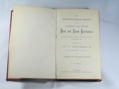 Book, Reports V.D.& D.I. 1873 to 1882