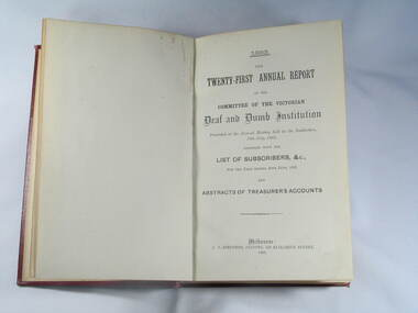 Book, Reports V.D.& D.I. 1883 to 1892