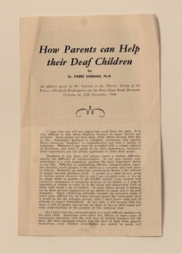 Pamphlet, How Parents can help their deaf children, 1960