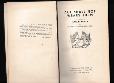 Book, Rowland G. Roberts, Age shall not weary them : the story of H.M.A.S. Perth, 1949?