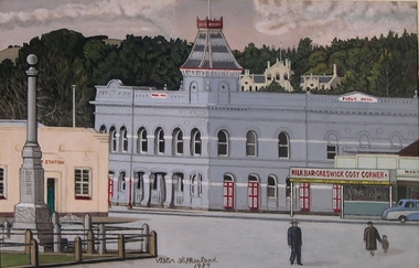 watercolour painting, Fire Station and Town Hall, Creswick, 1959