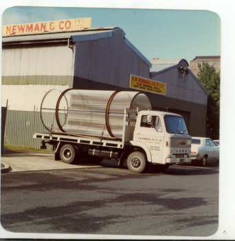 2222 - S W Newman & Co truck outside factory in Dow St, Port Melbourne