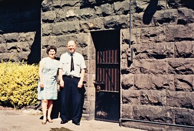 2312 - Snr Sgt Coghlan and wife outside Port Melbourne gaol in 1971