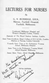 Nurse text Book-'Lectures for Nurses', 'Lectures for Nurses', early 1930's