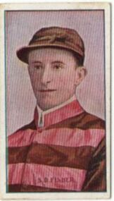Cigarette Card, Jockey  S.D. Fisher, Australian Jockeys, Sniders and Abrahams Issues, Standard Cigarettes, Series of 61 unnumbered, Issued 1908-1909, 1908 - 1909