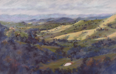 Pastel drawing of a landscape with green rolling hills with trees and dams in foreground and centre. Blue hills and cloudy sky in background.