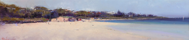 Panoramic painting of a beach scene with sand and shore line to the left and water to the right, in the centre there is a building and trees in the distance