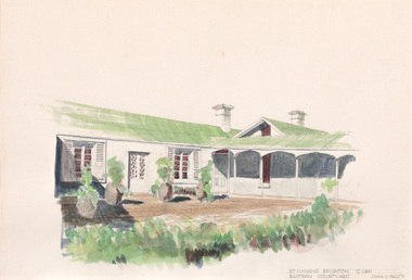 Watercolour of a white single storey residence with large courtyard in foreground.