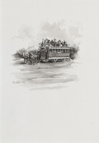 Black and white illustration of a double-decker tram harnessed to three horses. The top of the tram is open.