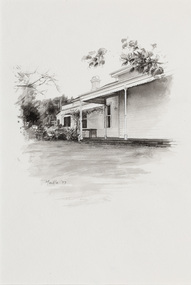 Black and white illlustration of a portion of a weatherboard house with partial verandah and one chimney visible.