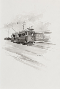Black and white illustration of an electric tram on a bare road with some vegetation in background.