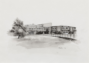 Black and white illustration of a modern two-storeyed building. The exterior is curved, with other curved and tapering roofs visible behind. A large tree to the left and row of trees to the right