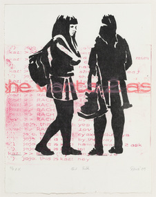 Print on white paper of black silhouettes of two girls talking with pink writing running horizontally across the paper.