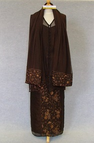 Evening outfit, Four piece outfit of blouse, camisole, skirt and wrap, c.1997